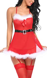 Avidlove Red Christmas Lingerie for Women Lace Babydoll Chemise Sexy Lingerie Sets with Garter Belt (NO Stockings)