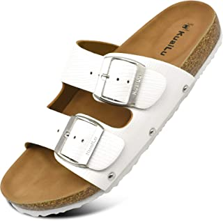 KuaiLu Mules Femme Bout Ouvert Metallic Cuir Sandales Plates Réglable Sabots et Mules Mode Ete Plateforme Chaussures