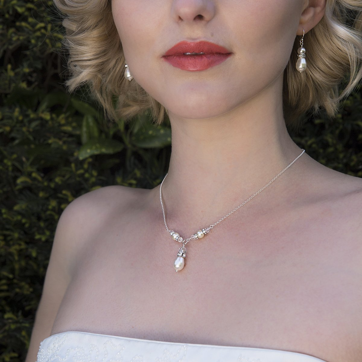 Amazon.com Pearl Y drop necklace, pearl bridal necklace, pearl ...