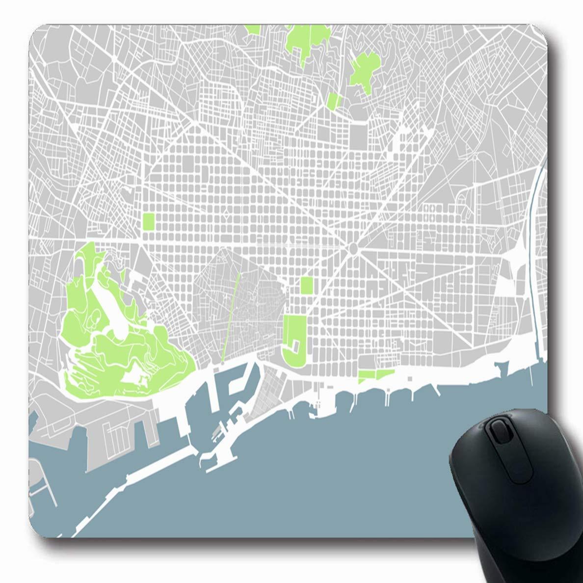Luancrop Alfombrillas para computadoras Centro Gris Mapa de Carreteras Ciudad Barcelona España Geografía Resumen Verde Cartografía Cataluña Cerda Diseño Antideslizante Oblong Gaming Mouse Pad: Amazon.es: Electrónica