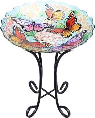 "MUMTOP Outdoor Glass Birdbath with Metal Stand for Lawn Yard Garden Butterfly Decor, 18"" Dia 21.65"" Height"