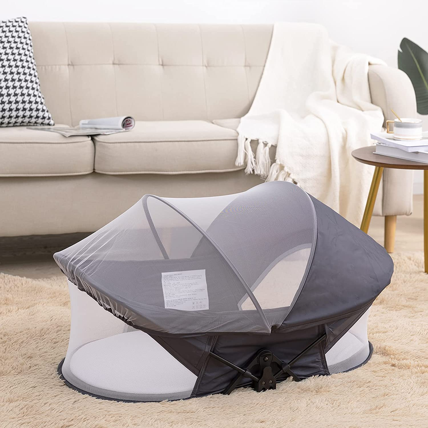 Travel Bassinet for Baby, Portable Baby Bassinet, Foldable Baby Bed with Mosquito Net, Foldable Frame Design, Outdoor Crib for Infant Toddler (Gray)