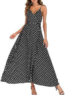 DAY8 Vestiti Donna Eleganti Corti avanti Lunghi Dietro Abiti da Sera Donna Lungo Elegante Manica Lunga Moda Casual Vacanza Viaggio Spiaggia Donna Comodo Midi Vestito