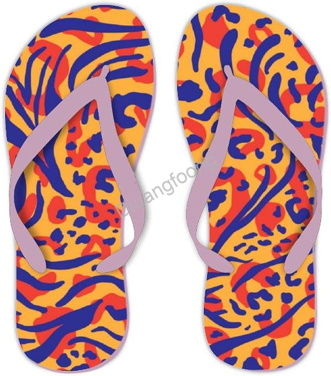 Leopard Flip Flops Beach Unisex Thong Sandals Cute Sandal For House Bathroom Party Pink-Style6