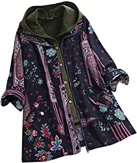 Hooded Outwear Women Two Pieces Warm Coat Plus Size Vintage Print Button Zip Jacket Overcoat