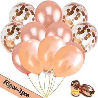 Lulonpon Party Decorations Rose Gold Balloons,56pcs Balloons Including Rose Gold Latex Balloons Champagne Gold Balloon Confetti Balloons&Ribbon for Birthday Party, Weddings,Baby Showers