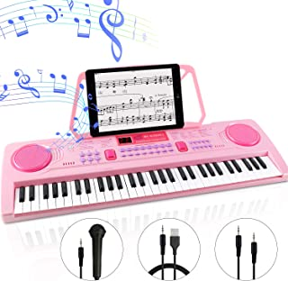 WOSTOO Electric Keyboard Piano for Kids-Portable 61 Key Electronic Musical Karaoke Keyboard, Learning Keyboard for Children w/Drum Pad, Recording, Microphone, Pink