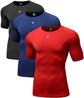 Men's Short Sleeve Compression T-Shirt, Cool Dry Baselayer Tops, Pack of 3
