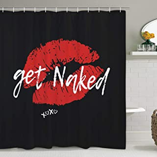 Get Naked Shower Curtain Sexy Lips Shower Curtain with 12 Hooks, Funny Kiss Shower Curtain Durable Waterproof Shower Curtain for Bathroom