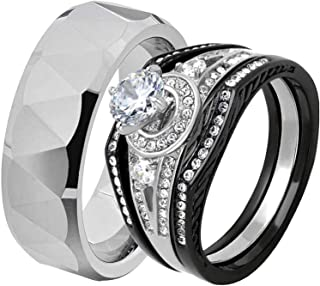 His & Hers Wedding Ring Sets Black Stainless Steel Triangle Faceted Tungsten Men Band FF
