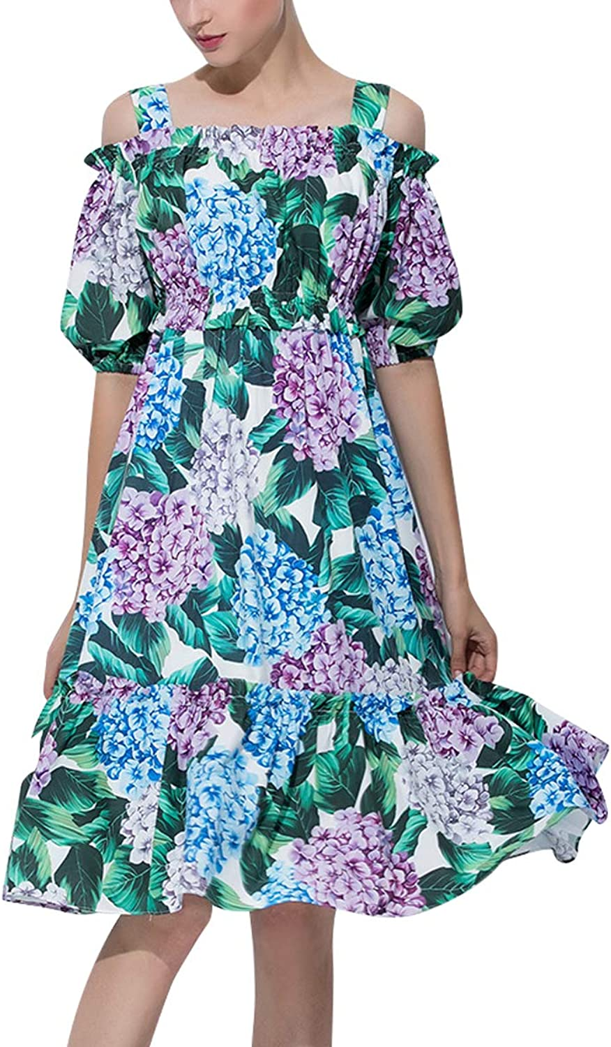 Cold Shoulder Floral Print Short Sleeve Ruffles Women Beach Party Swing Dress