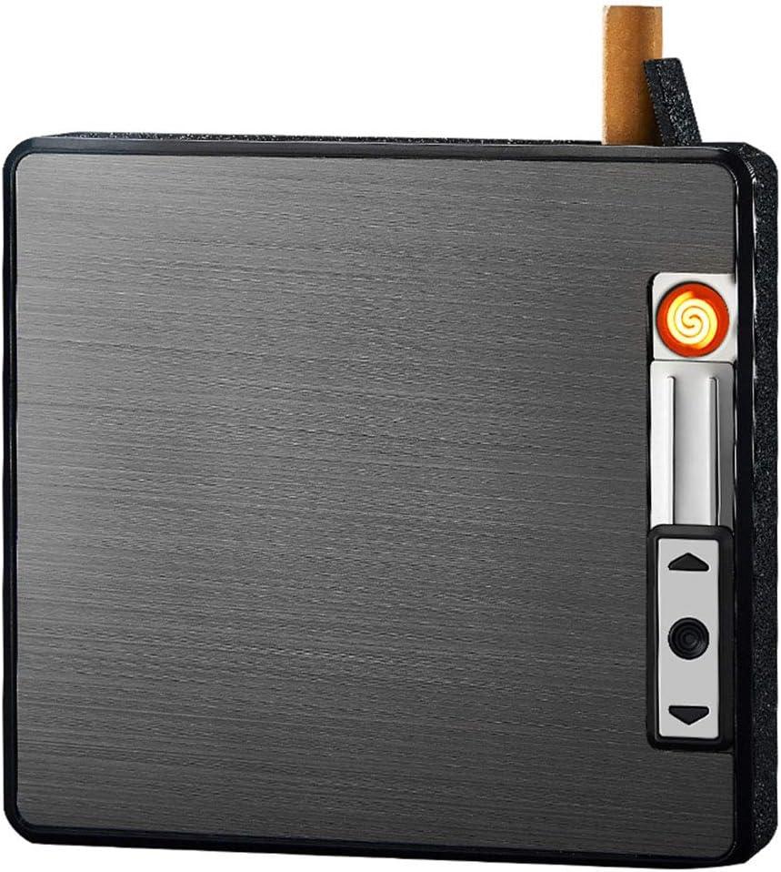 Amasawa Pitillera Encendedor, Caja de Cigarrillos de con Encendedor Recargable USB Cigarrillo Encendedor 19 Caja de Cigarrillos Regular para Regalos de Cumpleaños