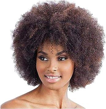 Femme Perruques Afro Cheveux Naturels Pour Black Court Curly Wig Tête Explosive Postiches Bouclés Marron Amazon Fr Beauté Et Parfum