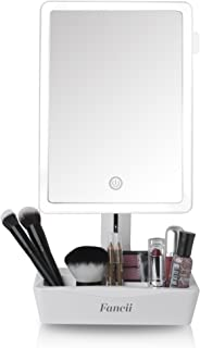 Fancii LED Lighted Large Vanity Makeup Mirror with 10X Magnifying Mirror - Dimmable Natural Light Touch Screen Dual Power Adjustable Stand with Cosmetic Organizer