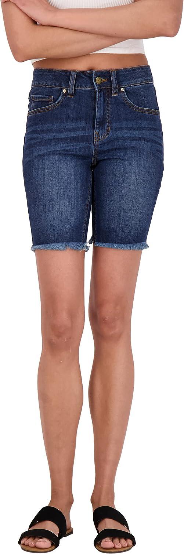dollhouse Women's Denim Bermuda Shorts with Distressed Look and Frayed Hem