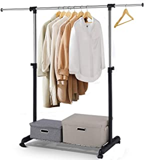 Leaflai Clothes Garment Rack with Wheels and Grid on The Base Heavy-Duty Clothing Rack Adjustable Rolling Extendable Hanging Rail Bottom Storage Shelf with mesh Black