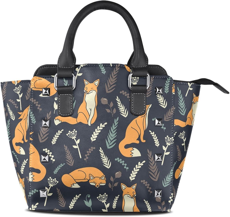 My Little Nest Women's Top Handle Satchel Handbag Foxes Flowers Ladies PU Leather Shoulder Bag Crossbody Bag