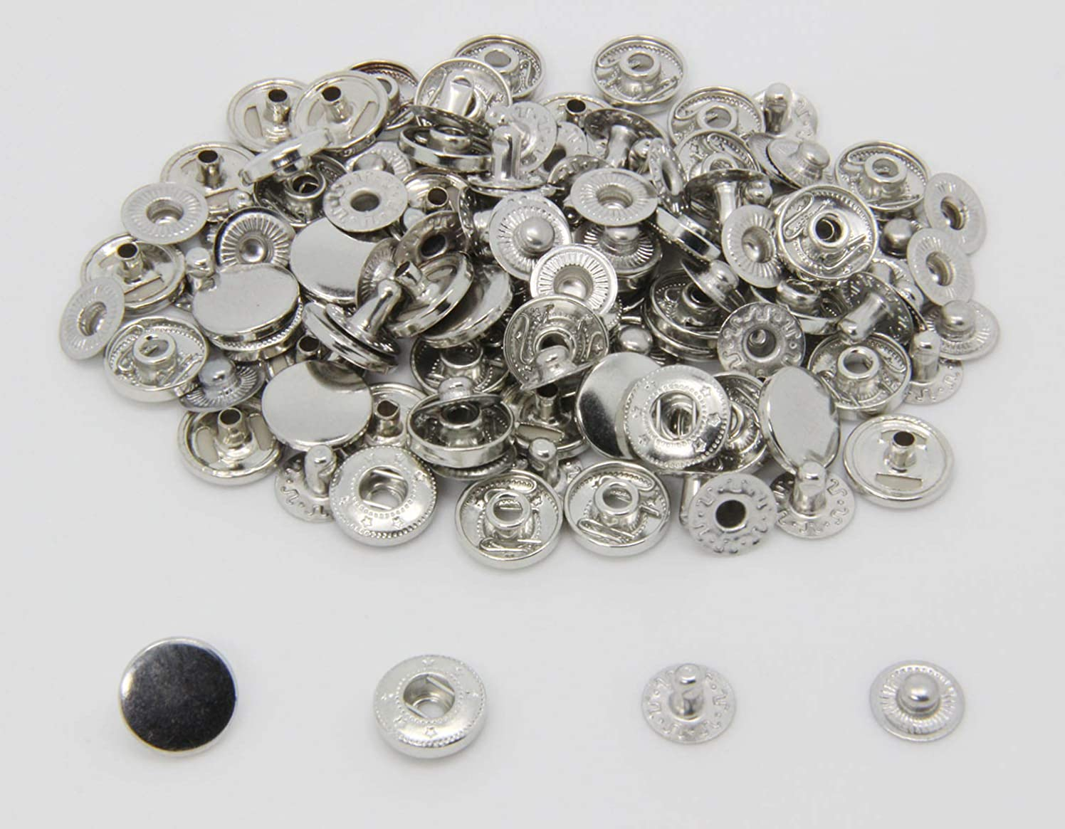 30 Sets Heavy Duty Snap Fasteners, BetterJonny 15mm Silver Poppers Press Stud Rivet for Leather Craft Sewing Clothing