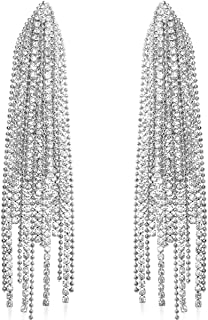 Humble Chic Simulated Diamond Long Earrings for Women - Hypoallergenic Rhinestone Fringe Tassels - CZ Crystal Statement Ch...