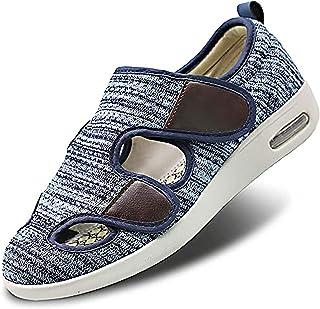 Hommes Diabétique Marche Chaussures, Extra Large Sandale Réglable Œdème Confortable Chaussons en Mousse À Mémoire De Forme...