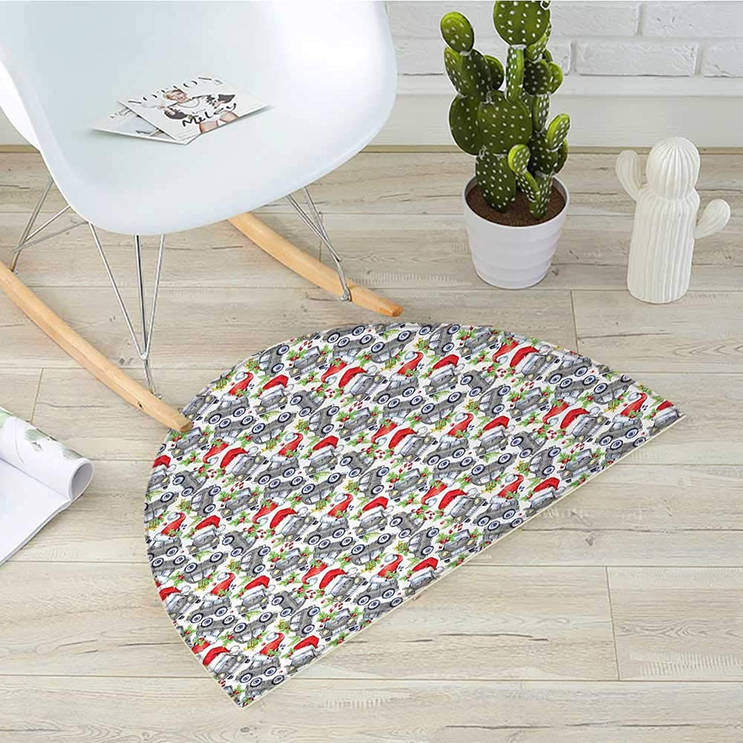 Cars Semicircle Doormat Christmas Themed Hand Drawn Cars with Santa Hats and Presents on Winter Holiday Halfmoon doormats H 39.3  xD 59  Lime Green Grey