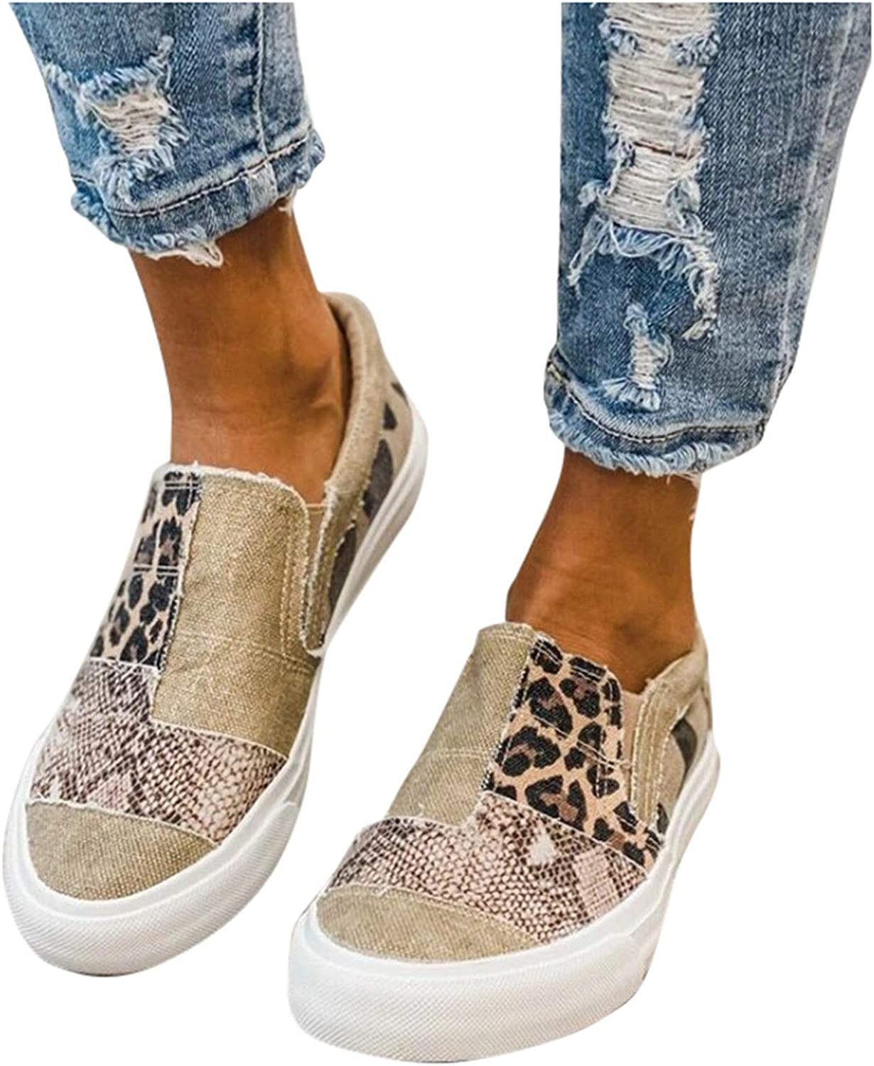 SALIFUN Canvas Shoes for Women,2021 Fashion Comfy Platform Sneaker Shoes Lace Up Slip On Trainers Casual Summer Daily Loafers