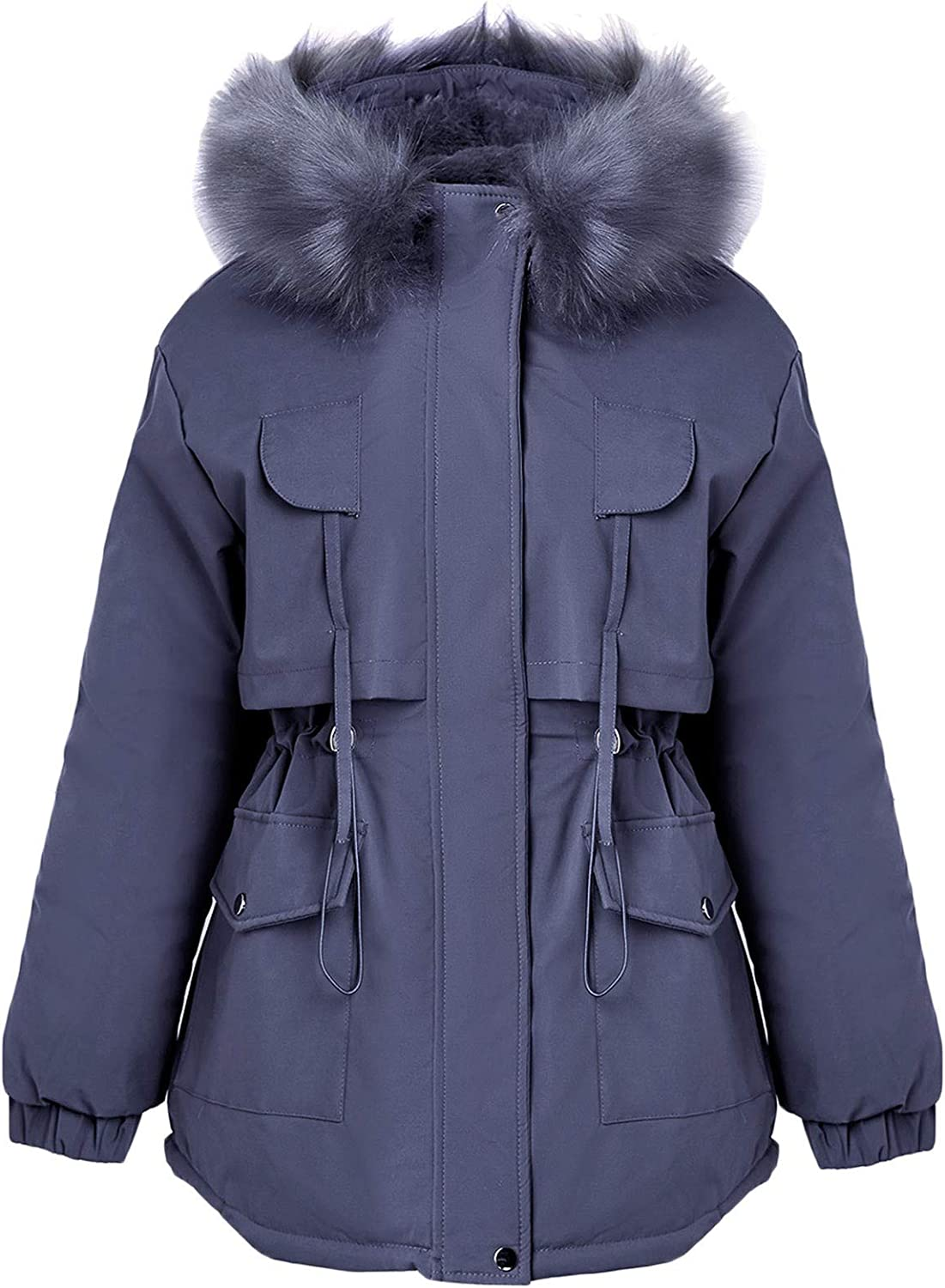 Thatso Women Faux Fur Hooded Winter Coats Warm Fleece Lined Parkas Cotton Padded Quilted Jacket Outwear with Zip Pockets(XL,Blue)