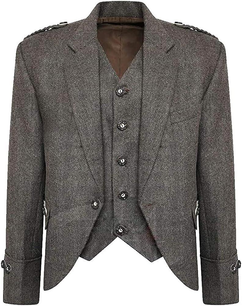 MasonicDirect Tweed Crail Popular product Highland Kilt Bombing free shipping Waistcoat Sco Jacket and