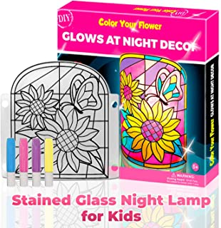 Kid Lamp DIY Kit- Make Stained Glass Nightlight with Window Paint and Circuit - Creative Arts and Crafts for Girls and Boys Ages 6 7 8 9 10 Year Old - Kid Educational Toy Art Kits - Best Gifts