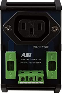 ASI IMACP320F DIN Rail Mounted Single AC Outlet IEC320 Connector with Fuse Protection, 10 Amp, 250 Vac, 30 to 12 AWG, uses 5 x 20mm fuses (Pack of 1)