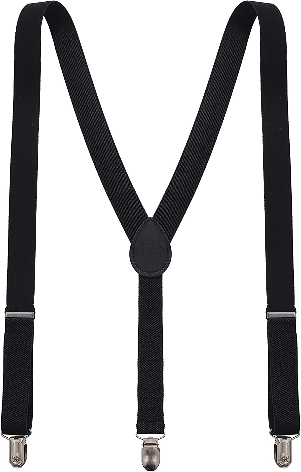 Y Back Style Unisex Suspenders for men and Women Polyester with Metal Clips Adjustable Elastic, One Size Fits All