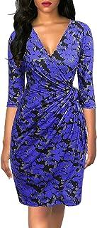 Berydress Vestido clásico de mujer con mangas 3/4 y cuello en V para fiesta, trabajo de imitación, color negro