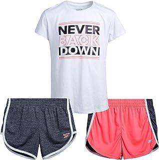 مجموعة ملابس رياضية للفتيات من ريبوك - تي شيرت قصير الأكمام وشورت للصالات الرياضية للأطفال (3 قطع)