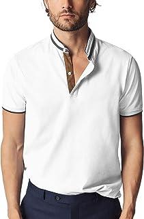 Navifalcon Mens Polo Shirt Short Sleeve V Neck Collar Polo Classic Fit 100% Cotton