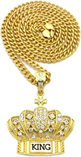 Hip Hop King Crown Pendant 24, 36 inches Various Chain Necklace in Gold, Silver Tone