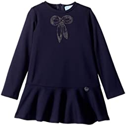 Long Sleeve Dress with Embellished Bow Detail (Toddler/Little Kids)
