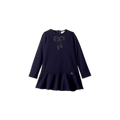 Lanvin Kids Long Sleeve Dress with Embellished Bow Detail (Toddler/Little Kids) (Navy) Girl