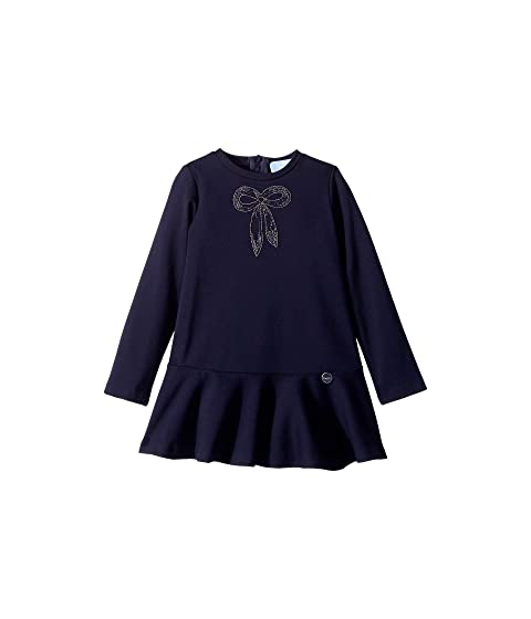 Lanvin Kids Long Sleeve Dress with Embellished Bow Detail (Toddler/Little Kids)