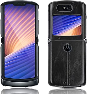 Compatible with Motorola Razr 5G Case, Luxury PU Leather + PC Shockproof Protective Cover Ultra-Thin Fold Phone Case,Black