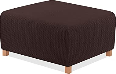 TAOCOCO Ottoman Cover Rectangle Storage Ottoman Slipcover Stretch Foot Rest Stool Covers Furniture Protectors Spandex Jacquar