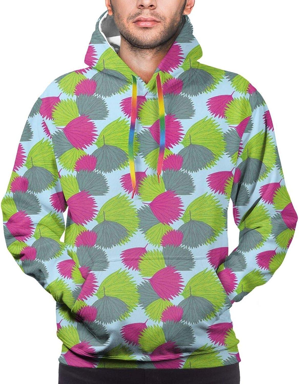 TENJONE Men's Hoodies Sweatshirts,Repeating Botanical Pattern with Tropic Plants Leaves