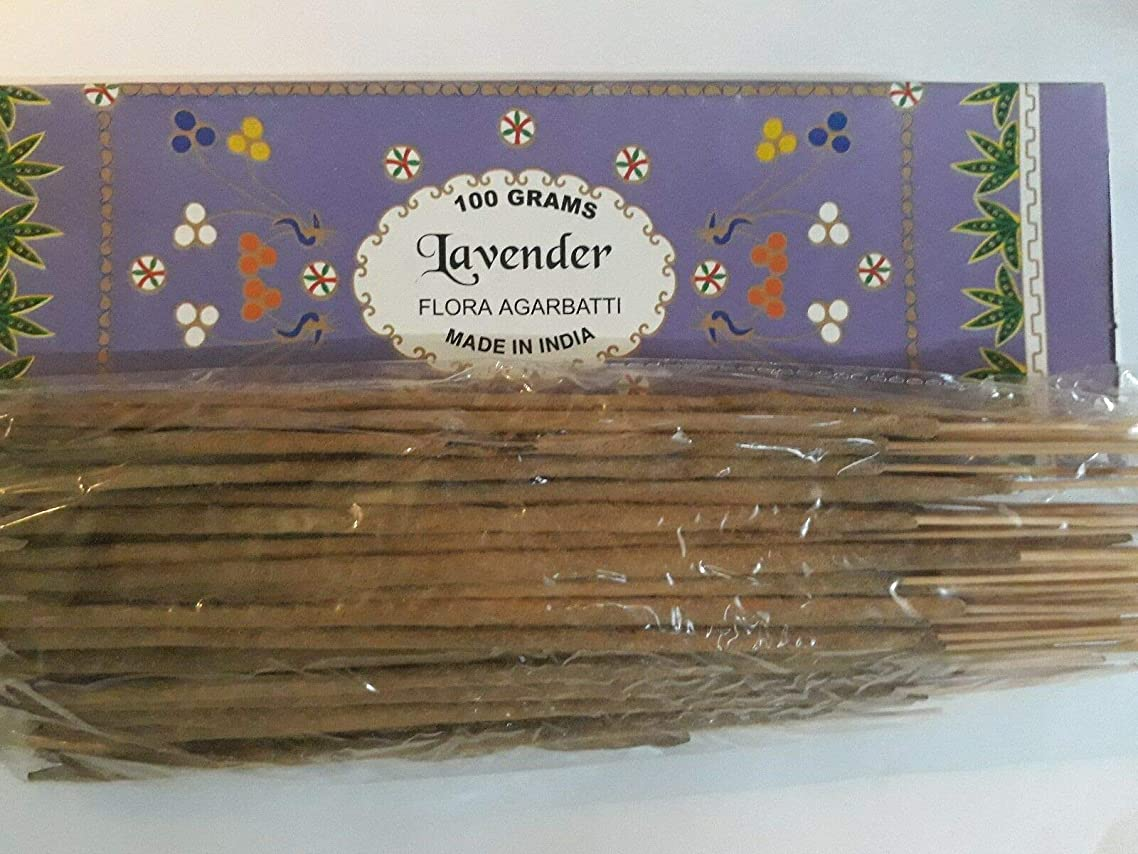 数値鎮静剤ダイヤルLavender ラベンダー Agarbatti Incense Sticks 線香 100 grams Flora Incense Agarbatti フローラ