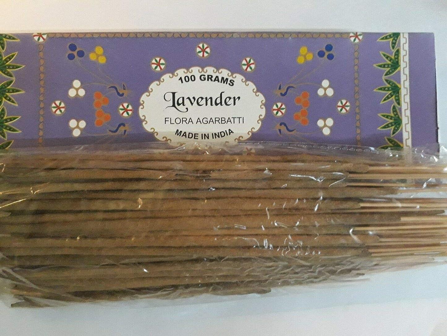 渦大使配当Lavender ラベンダー Agarbatti Incense Sticks 線香 100 grams Flora Incense Agarbatti フローラ