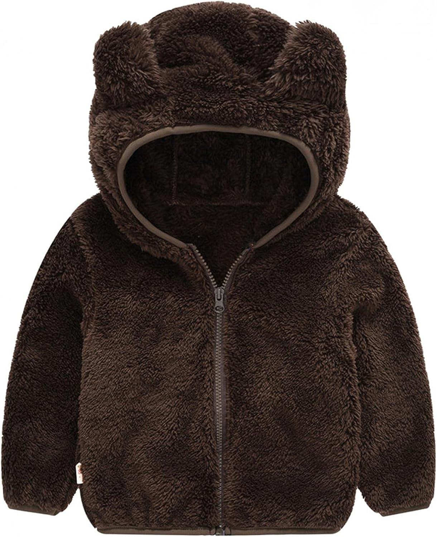 IKFIVQD Toddler Kids Cute Bear Ears Super-cheap Zipper Thick Sale Special Price Ja Hoodie Fuzzy