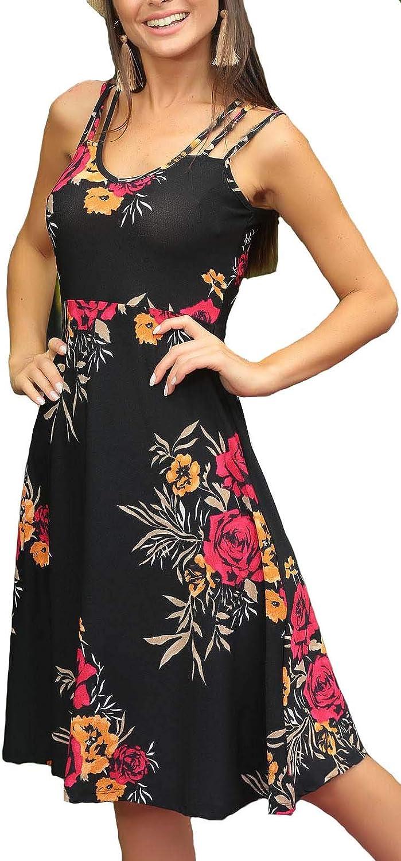 BOCOTUBE Women's Summer Sleeveless Floral Print Casual Knee Length Swing Dress