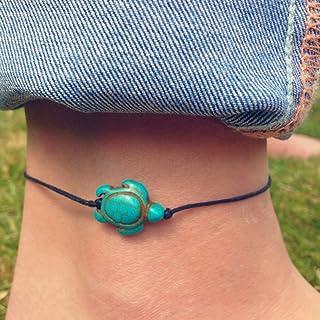Jovono, cavigliera in cordino con tartaruga, braccialetto con tartaruga di mare hawaiana, per donne e ragazze