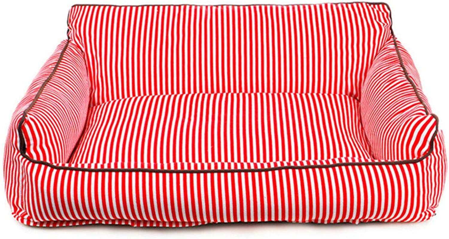 Pet Mat Four Seasonskennel Cat Litter Removable Washable Striped For Small Medium Dogs Red L(80  55  30cm)