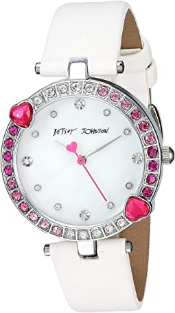 BJ00704-02 - Heart Stone Bezel & White Strap Watch
