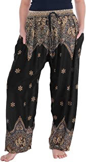 Lannaclothesdesign Women's Boho Yoga Peacock Drawstring Thai Harem Pants