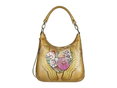Anuschka Convertible Slim Hobo with Crossbody Strap 662 (Angel Wings) Handbags
